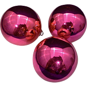 "Shiny Brite Hot Pink Blown Glass 2 1/4"" Set of 3 Ball Ornaments - Red Tag Sale Item"
