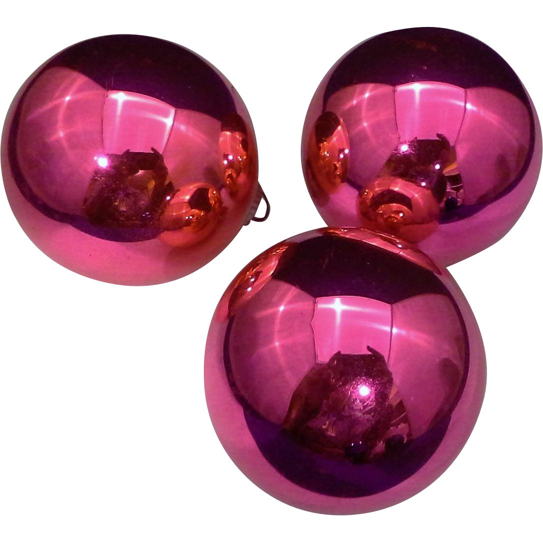 "Shiny Brite Hot Pink Blown Glass 2 1/4"" Set of 3 Ball Ornaments"