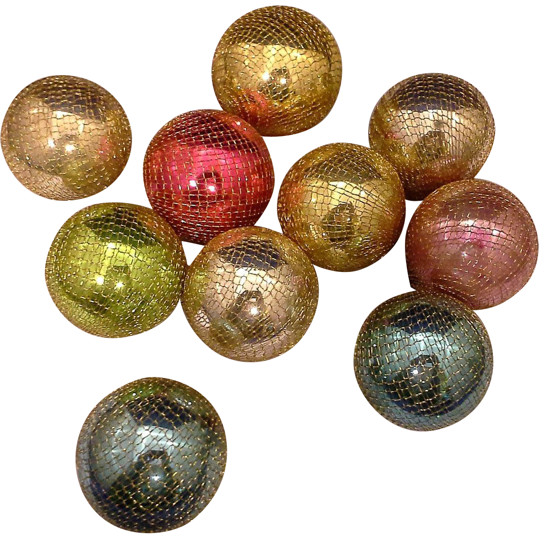 The Deco Haus Tagged Color Red: Shiny Brite Japan Gold Mesh Covered Christmas Ball
