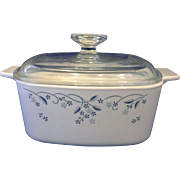 Corning Provincial Blue Flower on White 1.5L Casserole With Lid