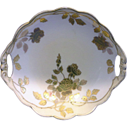 MZ Austria Moritz Zdekauer Gold Roses Scalloped Bowl Pierced Handles 7 1/4 IN