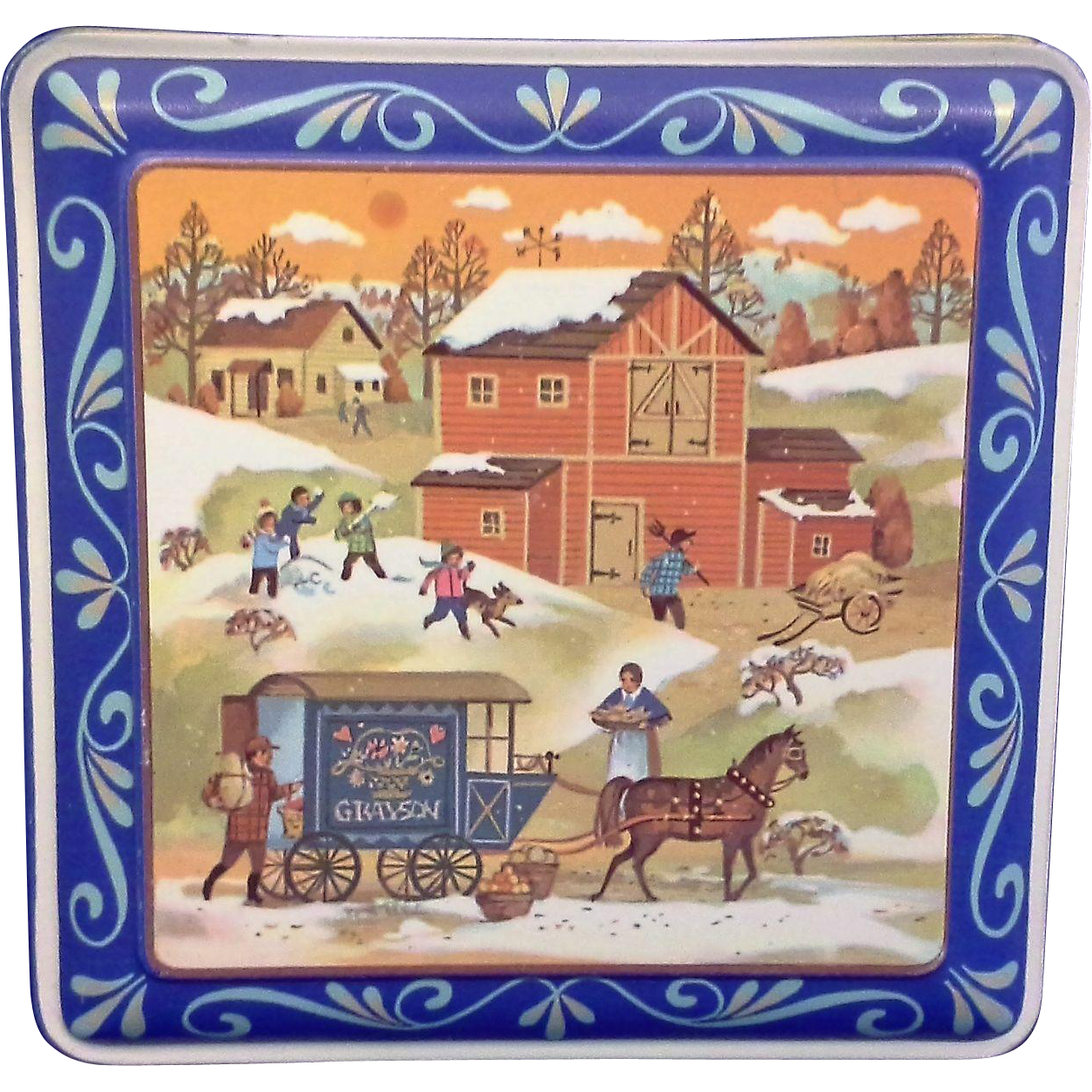 Daher Blue Square Tin Winter Farm Scene
