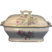 Dresden China The Potter's Cooperative East Liverpool Ohio White Ironstone Sauce Gravy Tureen Pink Flowers