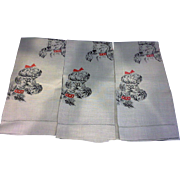 Grey Poodle Printed Linen Hand Tea Towels Set of Three
