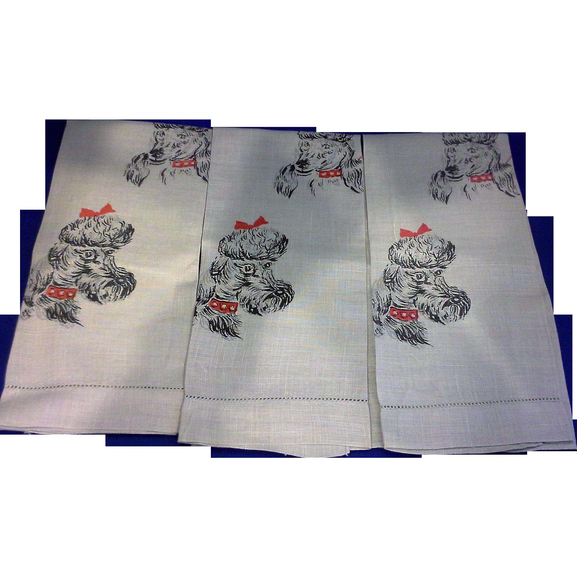 grey poodle printed linen hand tea towels set of three. Black Bedroom Furniture Sets. Home Design Ideas