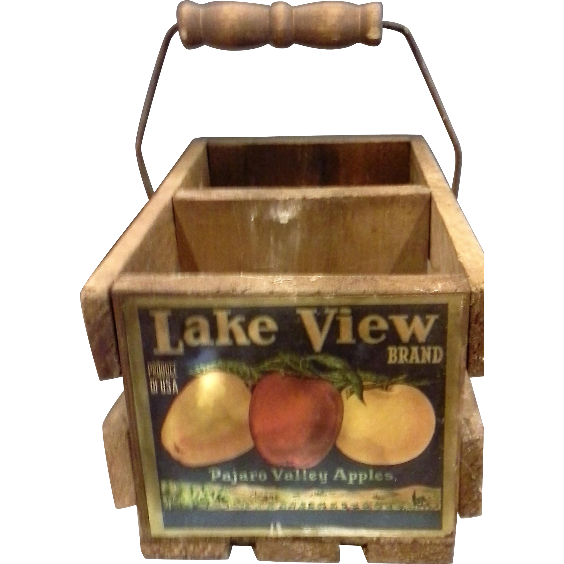 Lake View Brand Pajaro Valley Apples Wooden Divided Basket Advertising