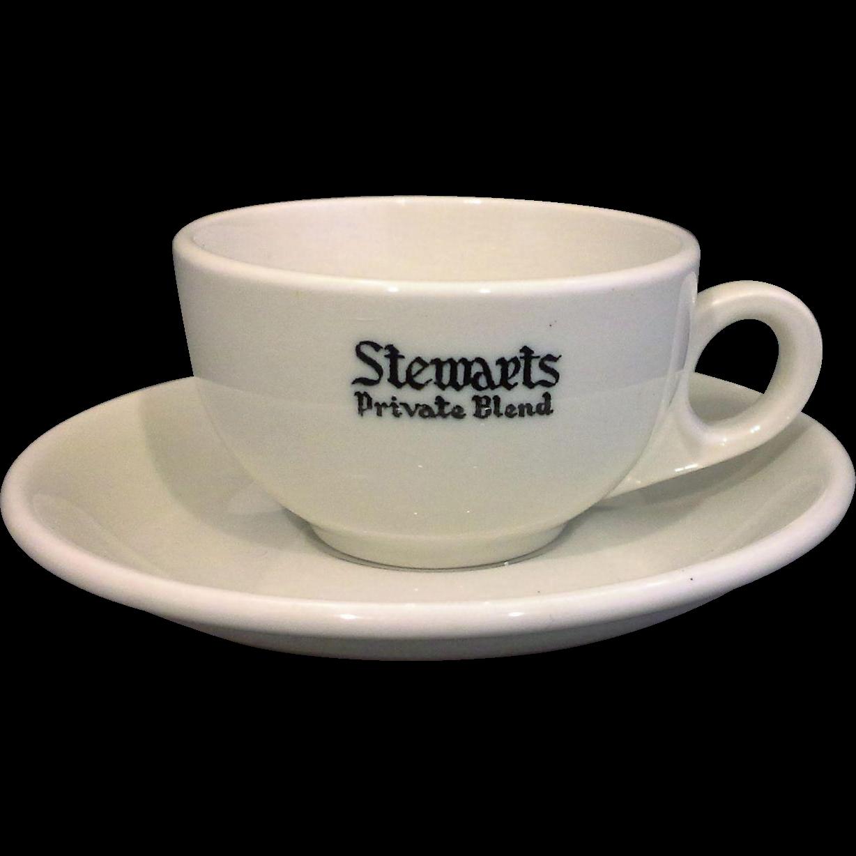 Stewarts Private Blend McNicol China Restaurant Ware Demitasse Cup Saucer Set