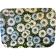 Marshallen Marsh Allen Blue Green White Daisies Tray Flower Power