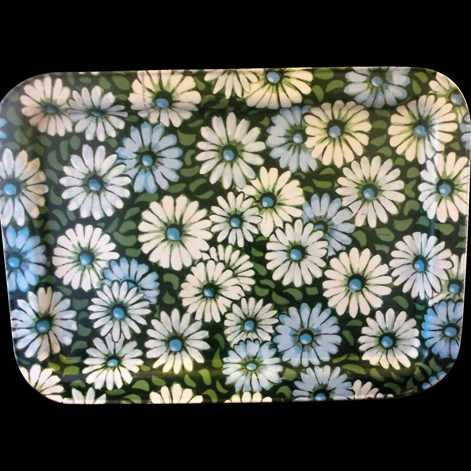 Marshallen Marsh Allen Blue Green White Daisies Tray Flower Power