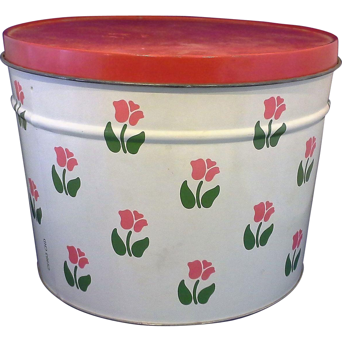 Nina Red Pink Tulips Tin Canister Bertels Can Co 1983