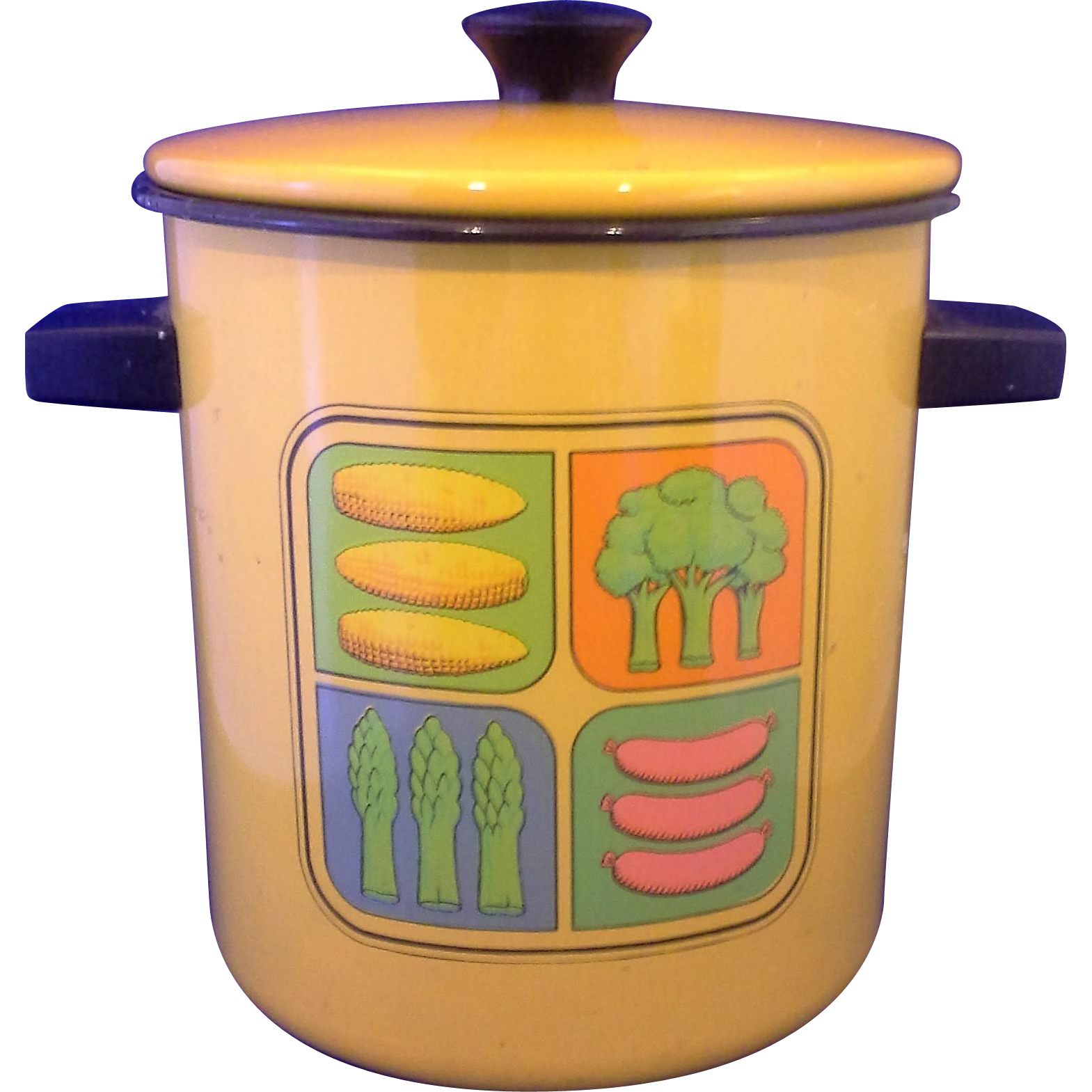 Harvest Gold Enamel Yellow Orange Narrow Stock Pot Veggies Black Trim