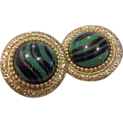 Green Black Stripes Gold Flecks Round Stone Glass Earrings