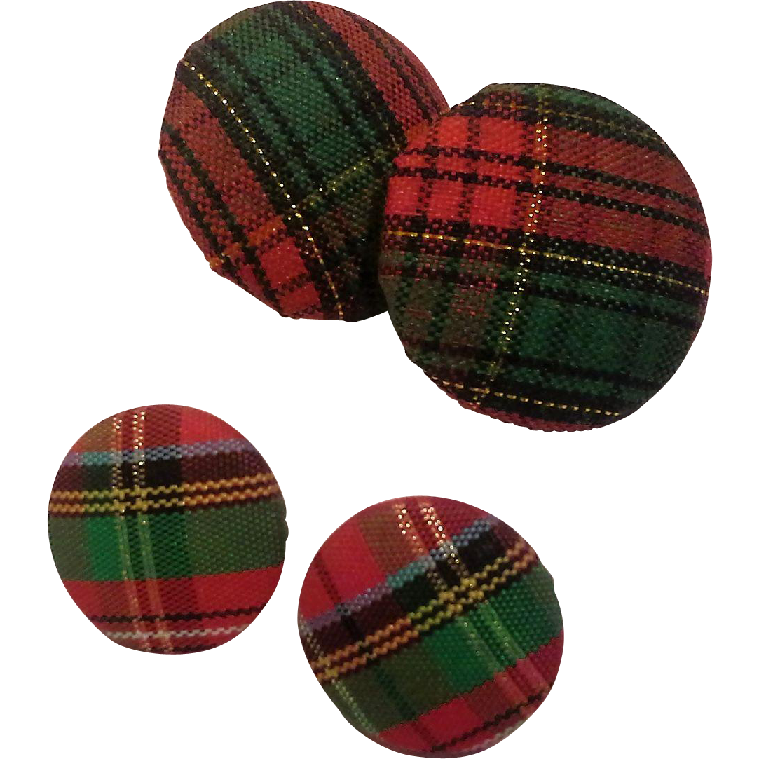 Red Green Tartan Plaid Christmas Fabric Covered Button Disc Earrings