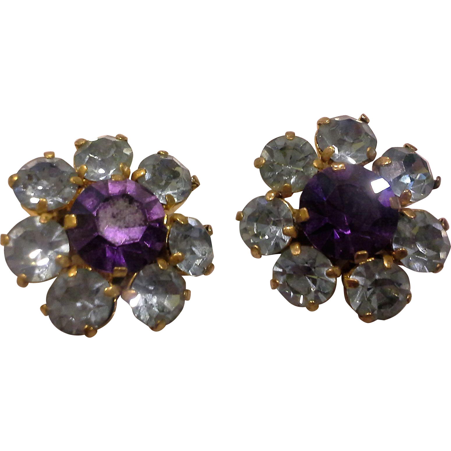 Austrian Crystal Rhinestone Earrings Ice Blue Amethyst Purple Gold Tone Clips
