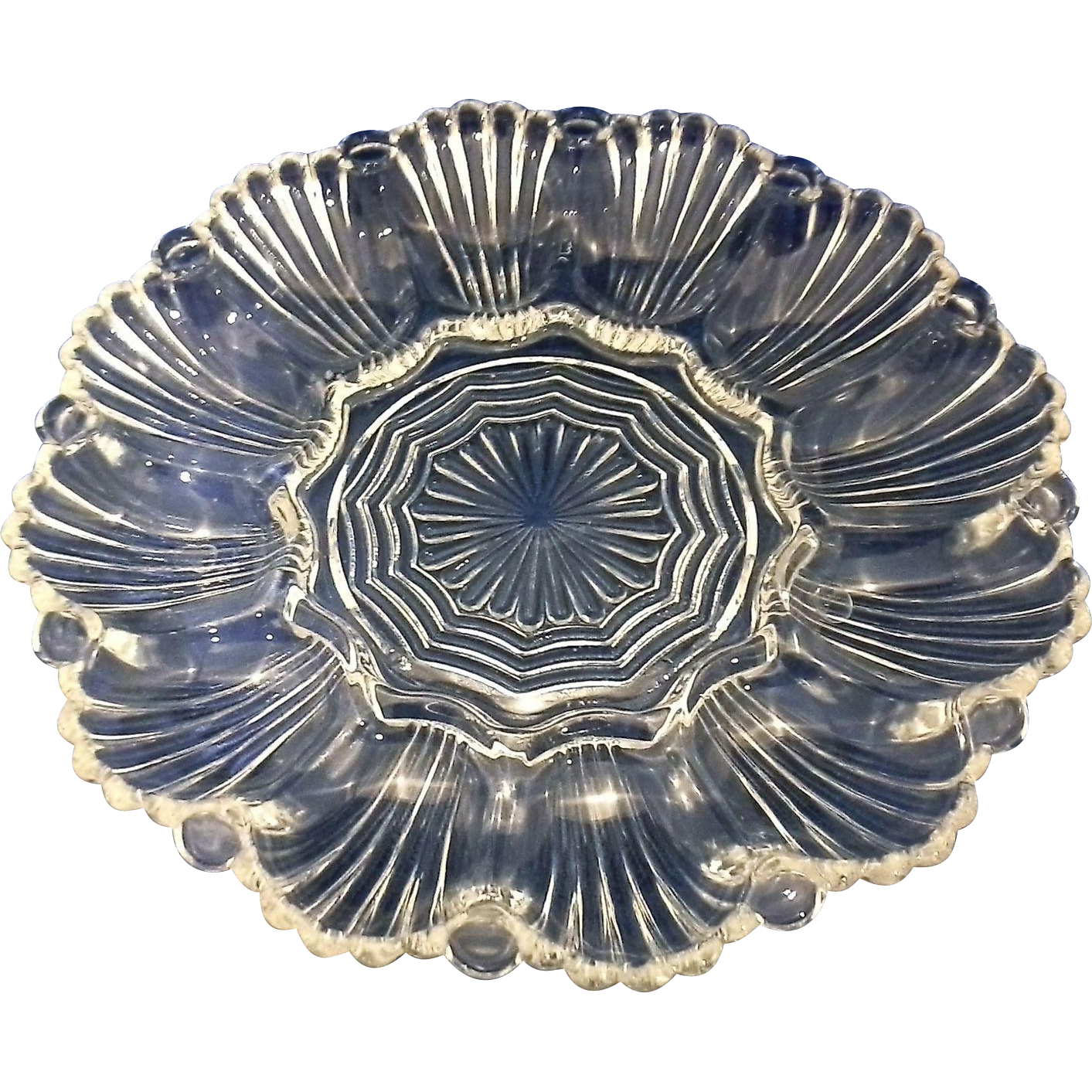 anchor hocking clear glass egg plate ribbed shell pattern from