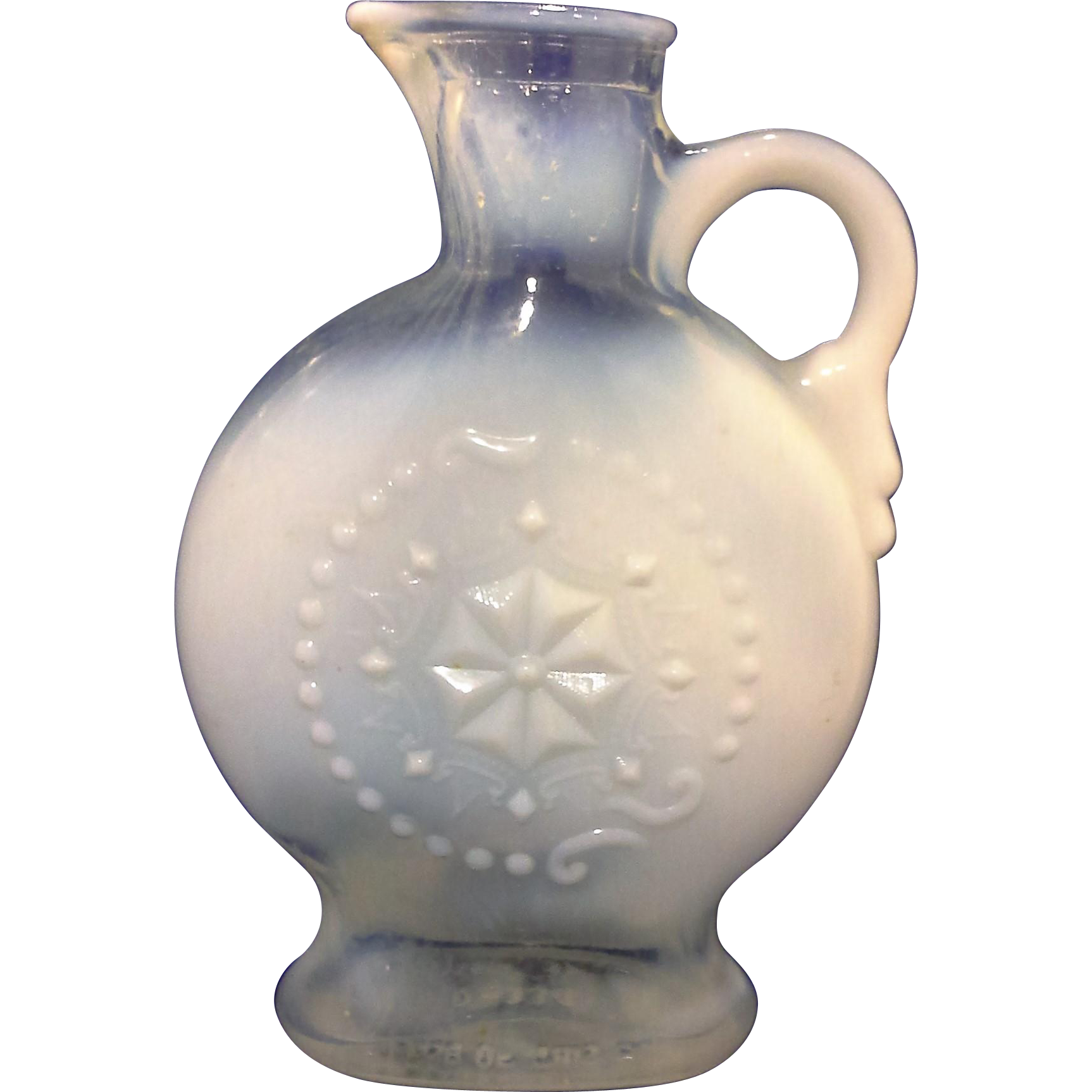 Jim Beam Royal Opalescent Clear White Glass Liquor Bottle Decanter Pressed Flower No Stopper 1957