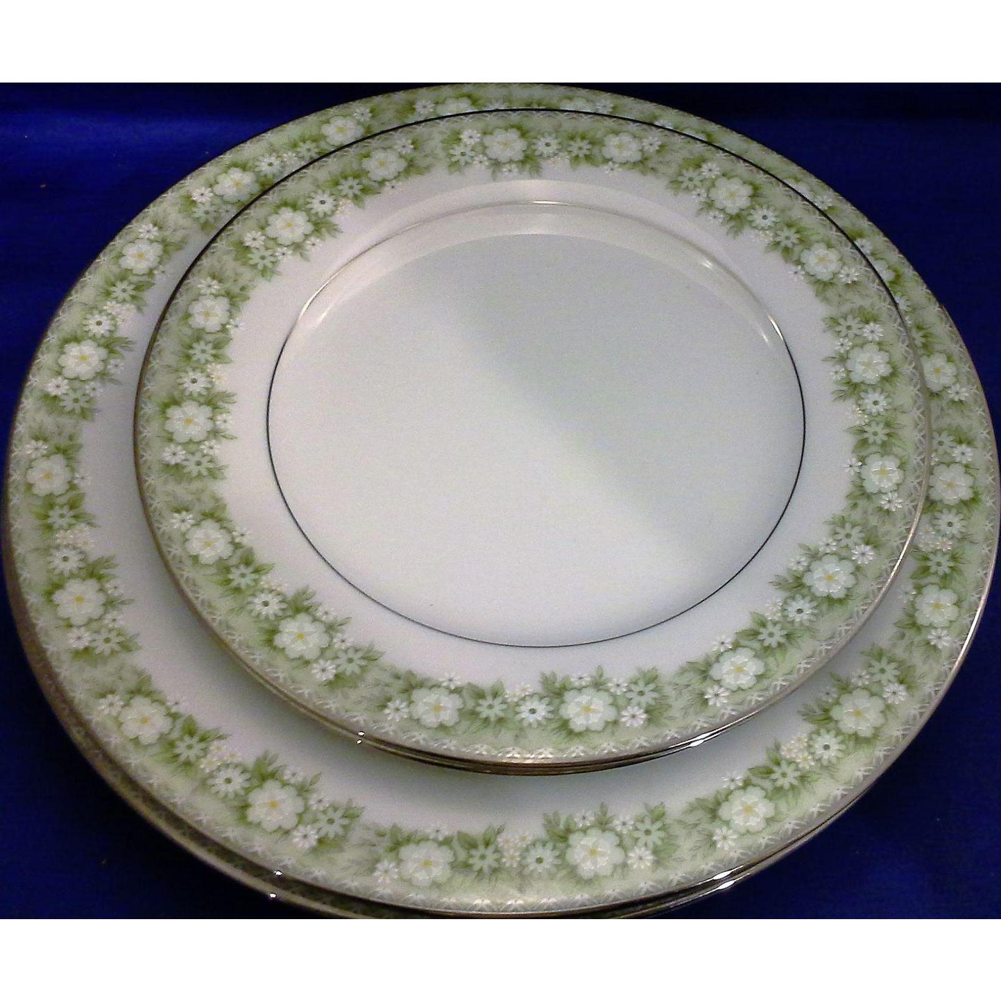 Noritake Princeton Dinner Salad Plates Green Floral