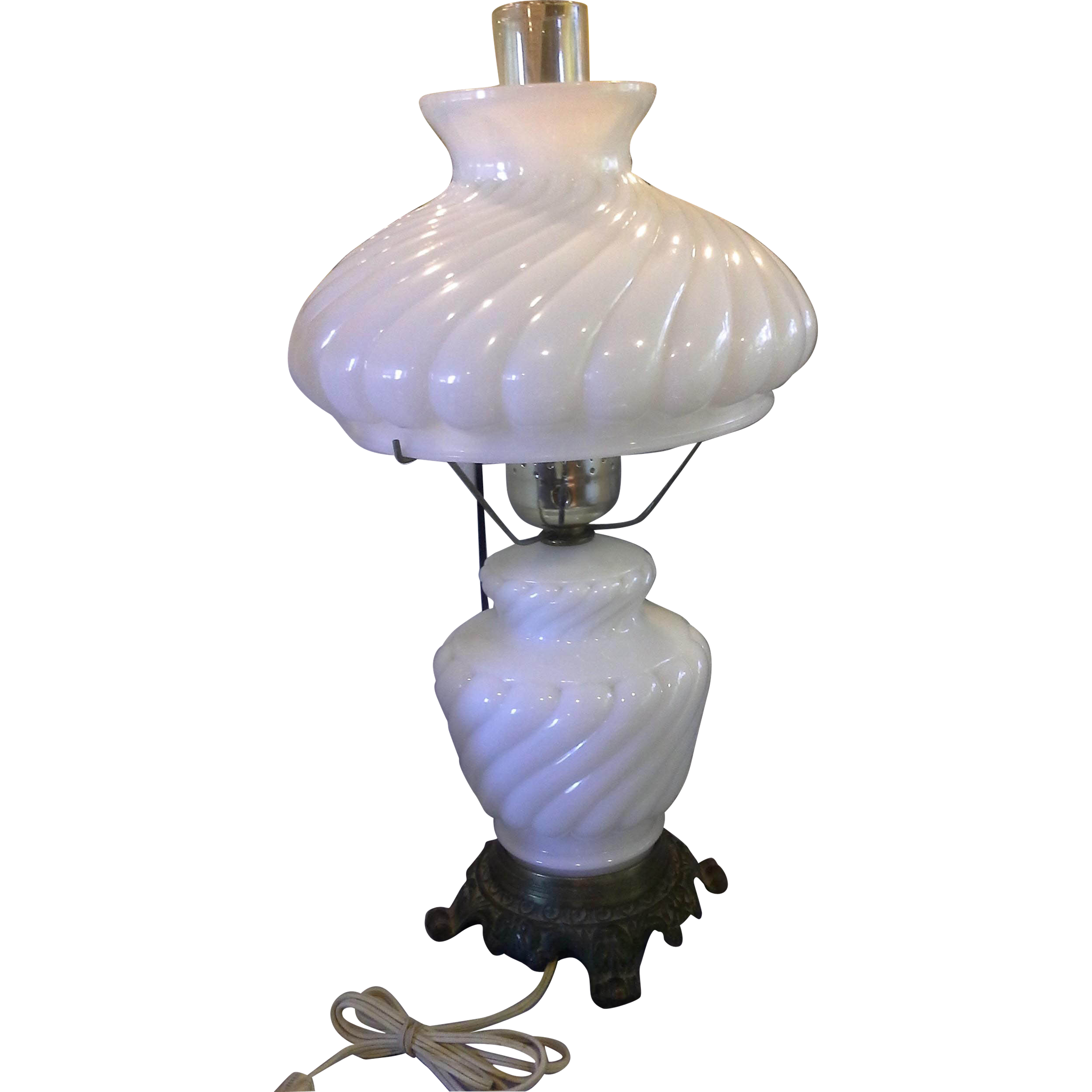 White Milk Glass Heavy Swirl 3 Way Gone With The Wind Style Parlor Banquet Lamp Light
