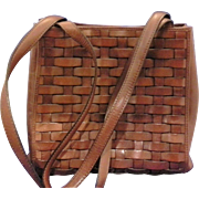 Etienne Aigner Cognac Brown Woven Leather Tote Purse Handbag Wyoming