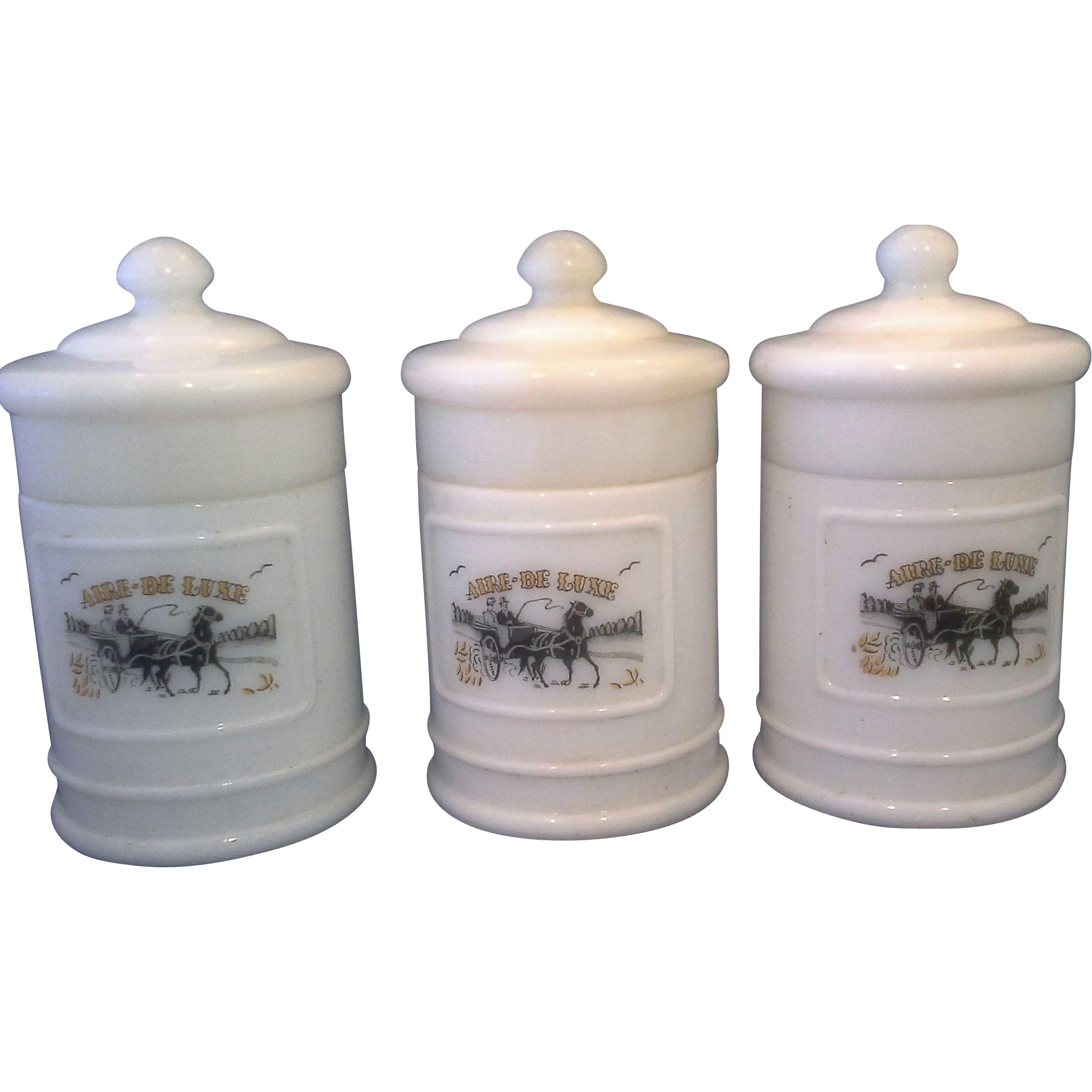 Milk Glass Apothecary Jars Set of Three Small Aire De Luxe Open Carriage Decoration