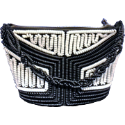 Black White Telephone Cord Spiral Purse Handbag Vintage 1940s-50s - Red Tag Sale Item
