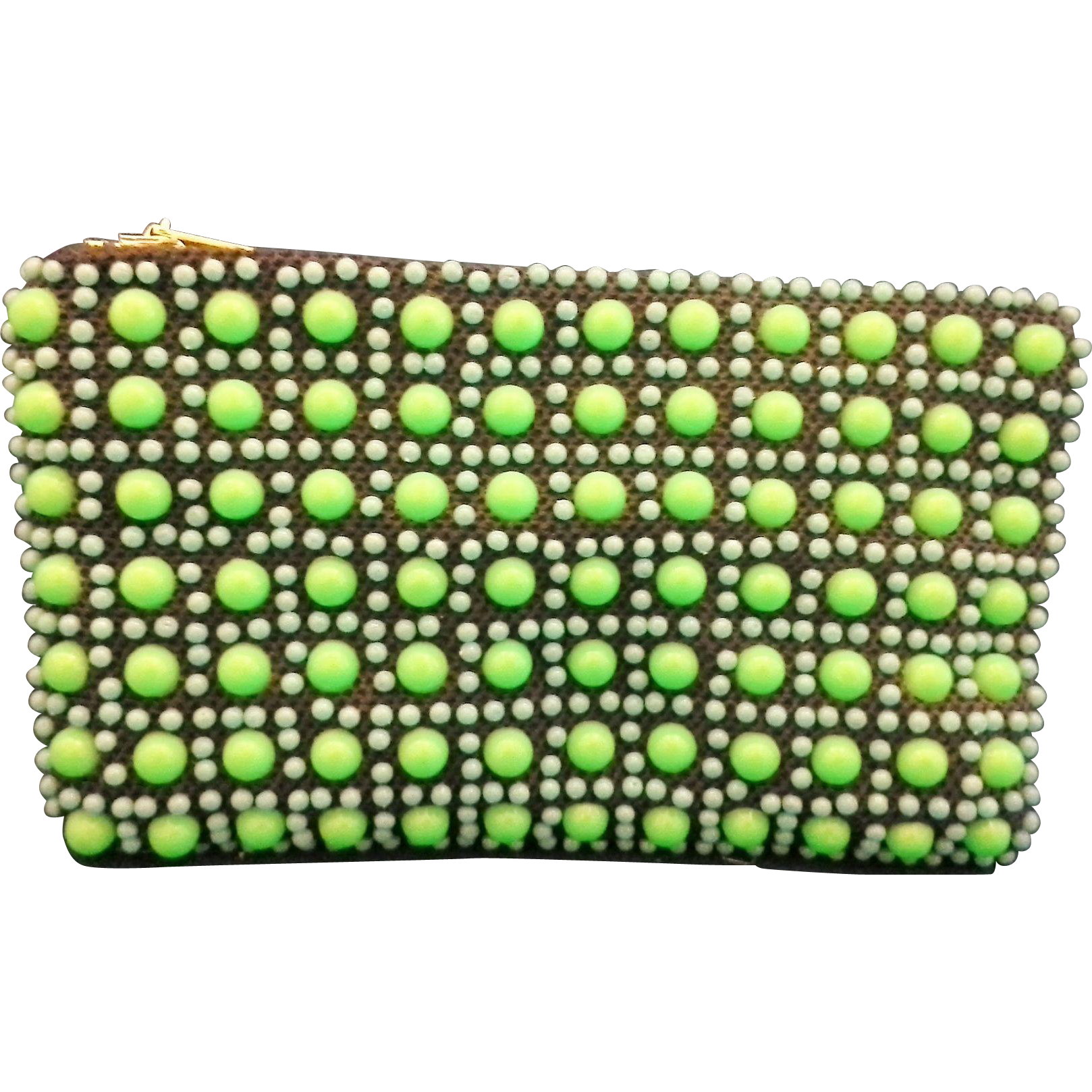Green Blue Plastic Beaded Coin Small Clutch Purse Hong Kong