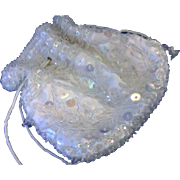 White Satin Clear Glass Seed Beads Iridescent Sequins Drawstring Purse Made in Hong Kong Evening Bag