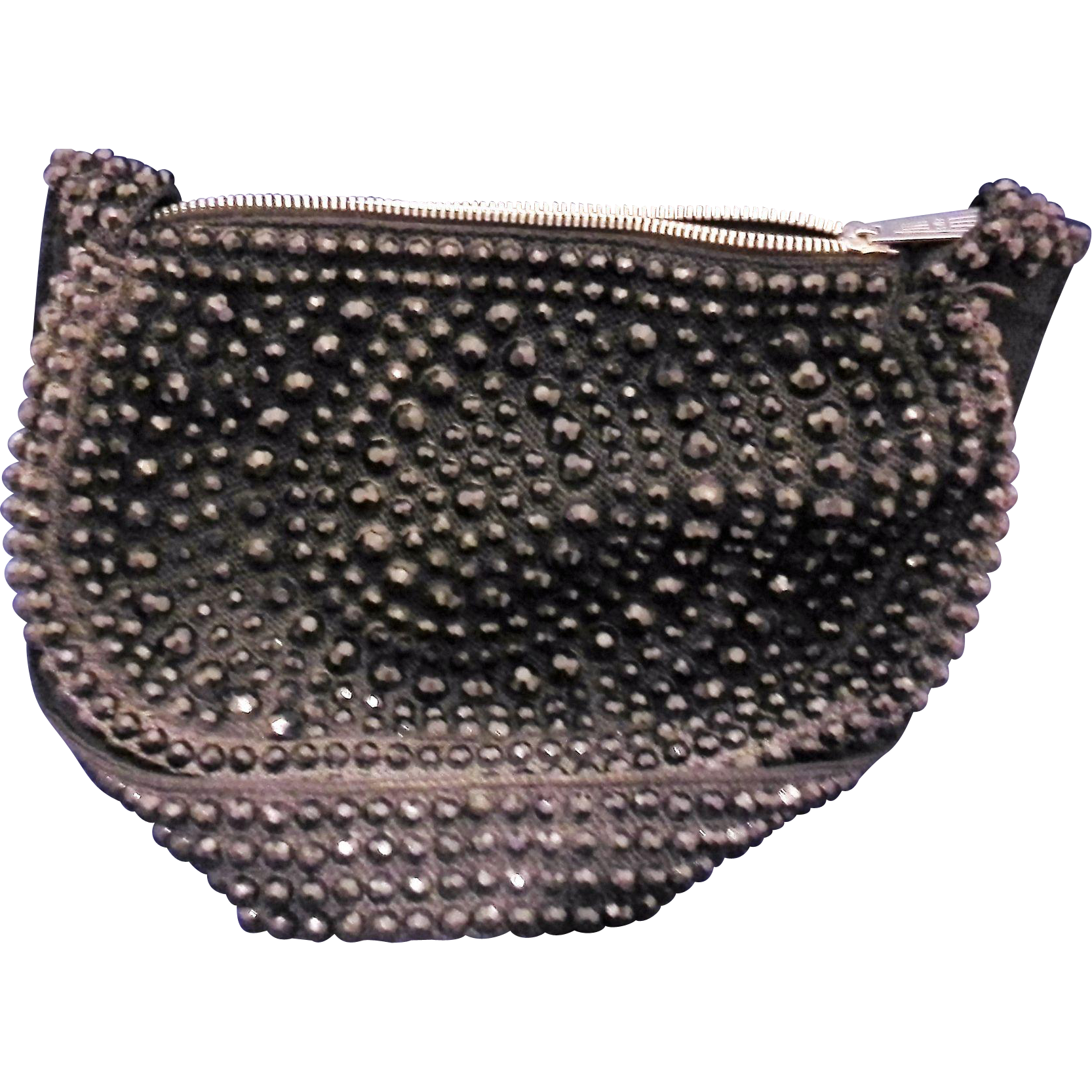 Roger Van S Black Beaded Half Circle Shoulder Bag Purse