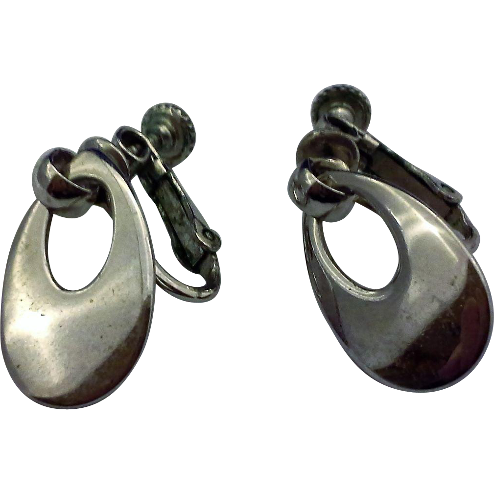 Napier Silver Tone Teardrop Hoop Dangle Earrings Screwback Clips