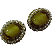 Yellow Art Glass W Germany Clip Earrings Ovals Faux Pearl Border
