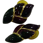 Jewel Tone Flame Twisted Enamel Earrings Made in USA Burgundy Green