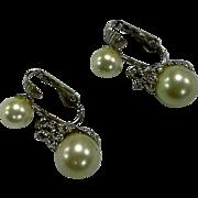 Marvella White Faux Pearl Silver Tone Clear Rhinestone Drop Earrings