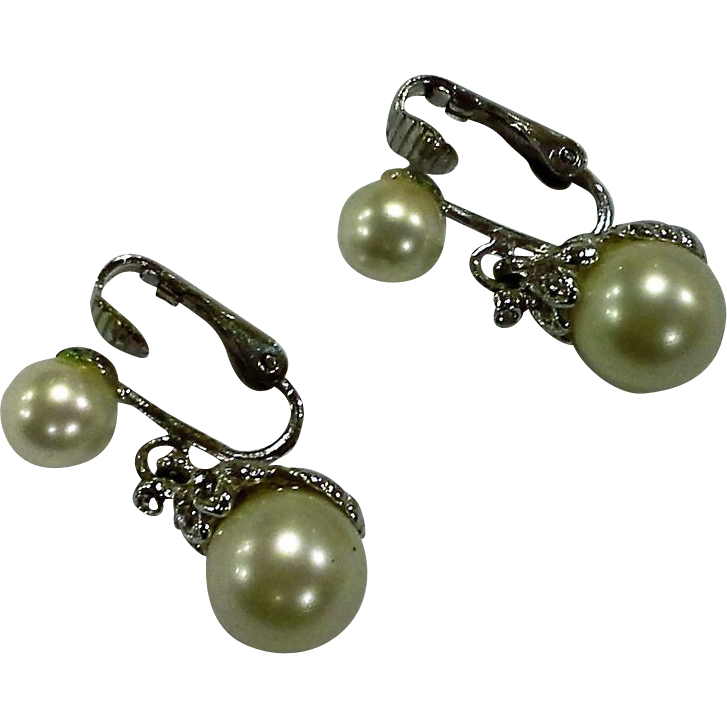 Marvella White Faux Pearl Silver Tone Clear Rhinestone Drop Earrings