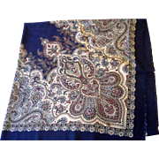 Woodward Italy Polyester Navy Blue Burgundy Paisley Shawl Scarf 46 x 46 IN