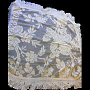 Cream Ecru Lace Tablecloth Set of 4 Deep Fringe Rounded Corners