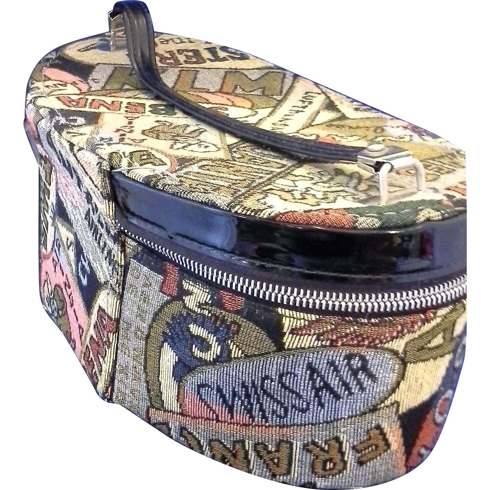 Tapestry Colorful Travel Luggage Train Case Makeup Oval Small