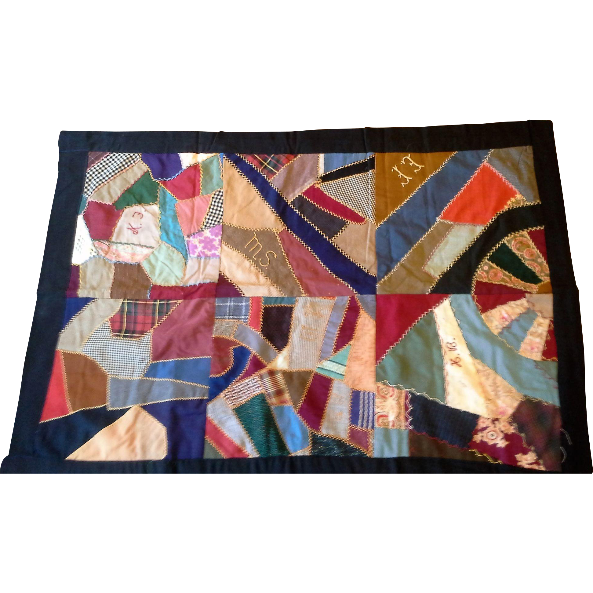 Victorian 19th Century Crazy Quilt Friendship Lap Quilt Feather Stitching Embroidered Initials 31 x 45 IN