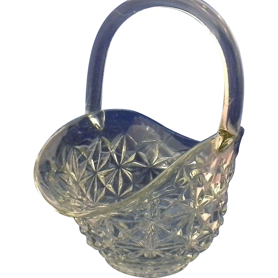 Indiana Glass Clear Monticello Basket 11 IN Applied Handle