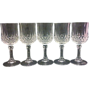 Longchamps Cristal d'Arques Cordials Stems Set of 5 Lead Crystal