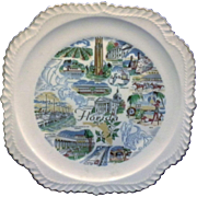 Florida State Souvenir Plate Gadroon Edge Map Pre Disney