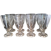 Anchor Hocking Bubble Boopie Foot Clear Cut Glass Water Goblets Stems Set of 8 - Red Tag Sale Item