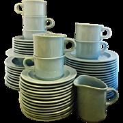 Homer Laughlin Blue Glaze Dinnerware China Set of 56 Pcs Dinner Salad Plates Cup