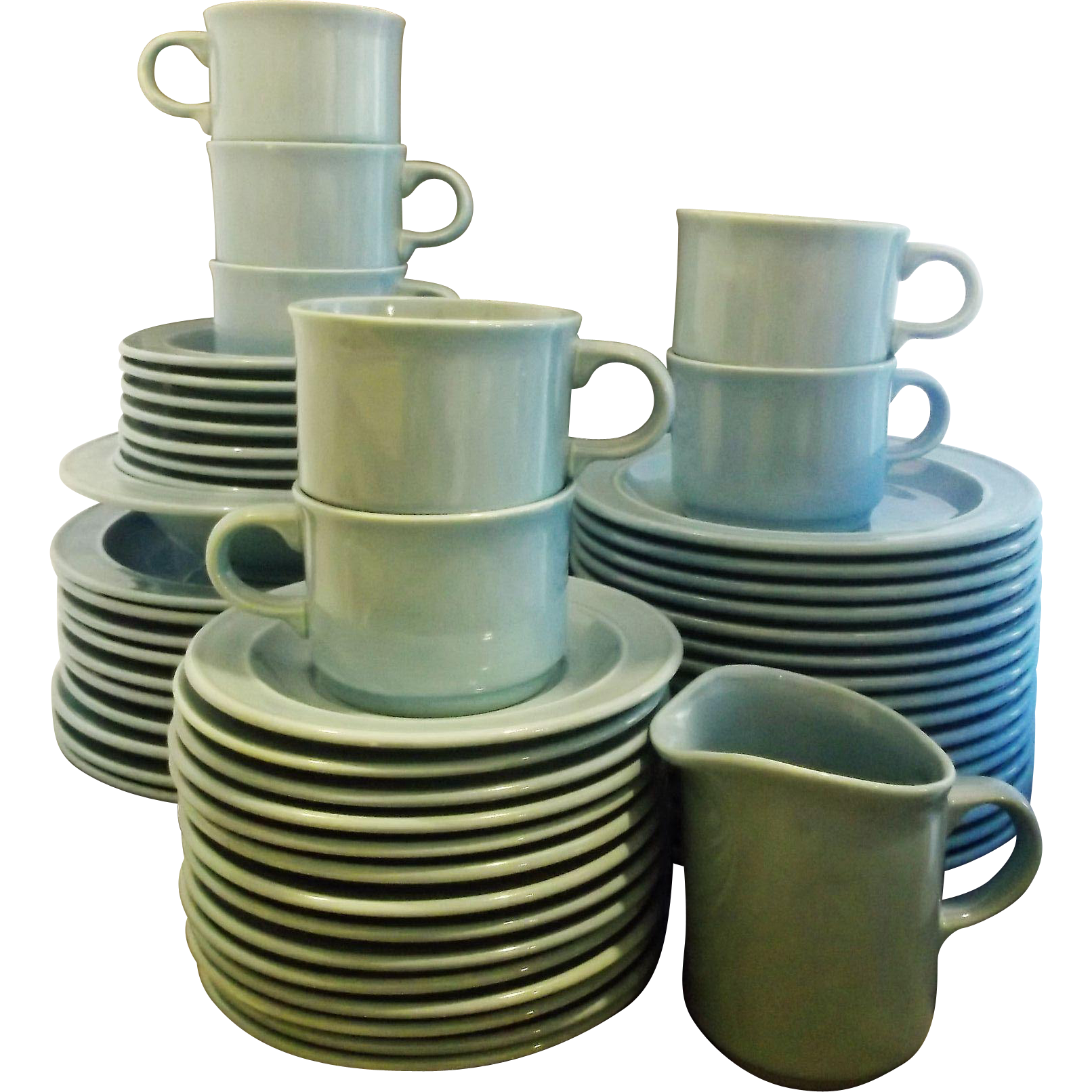 Homer Laughlin Blue Glaze Dinnerware China Set of 56 Pcs Dinner Salad Plates Cup