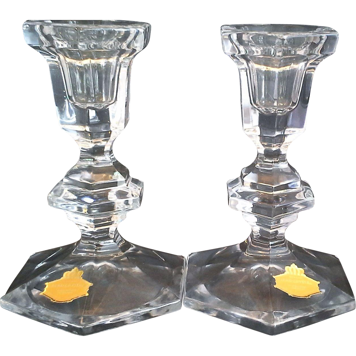 Beyer Bleikristall Lead Crystal Regency Candlesticks Candle Holders 5 1/4 IN