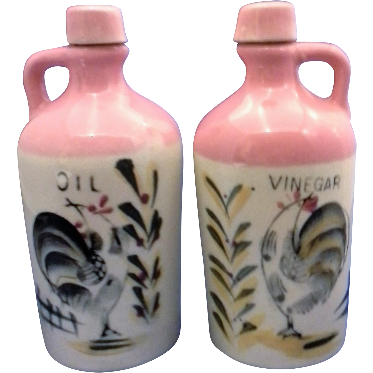Pink Hand Painted Oil Vinegar Cruets Pottery Roosters
