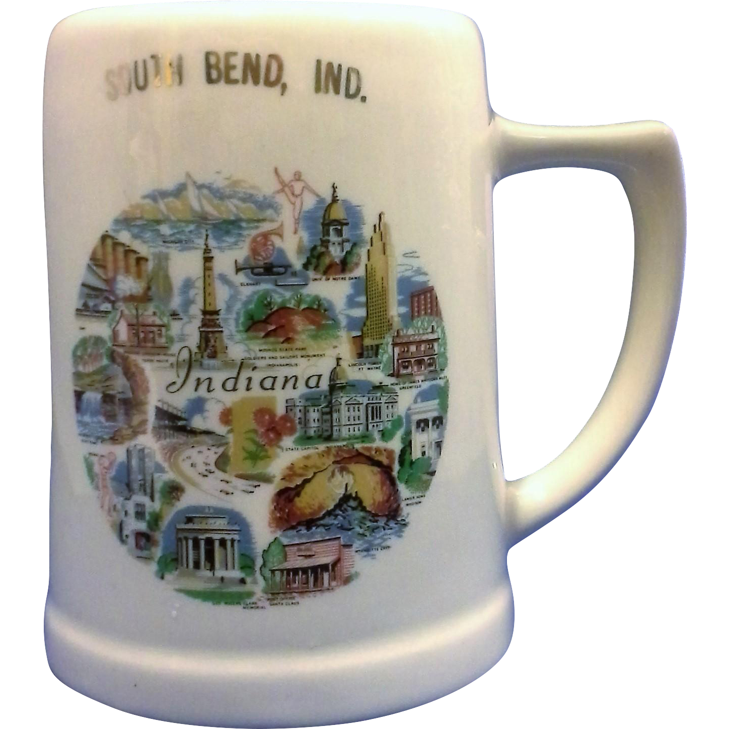 South Bend, Indiana Souvenir Stein Mug Pottery