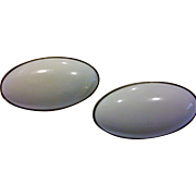 White Oval Plastic Lucite Cab Earrings Clips