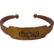 Brass Cuff Bracelet Engraved Ethnic Tribal Look