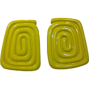 Yellow Plastic Chunky Serpentine Coiled Rectangle Earrings