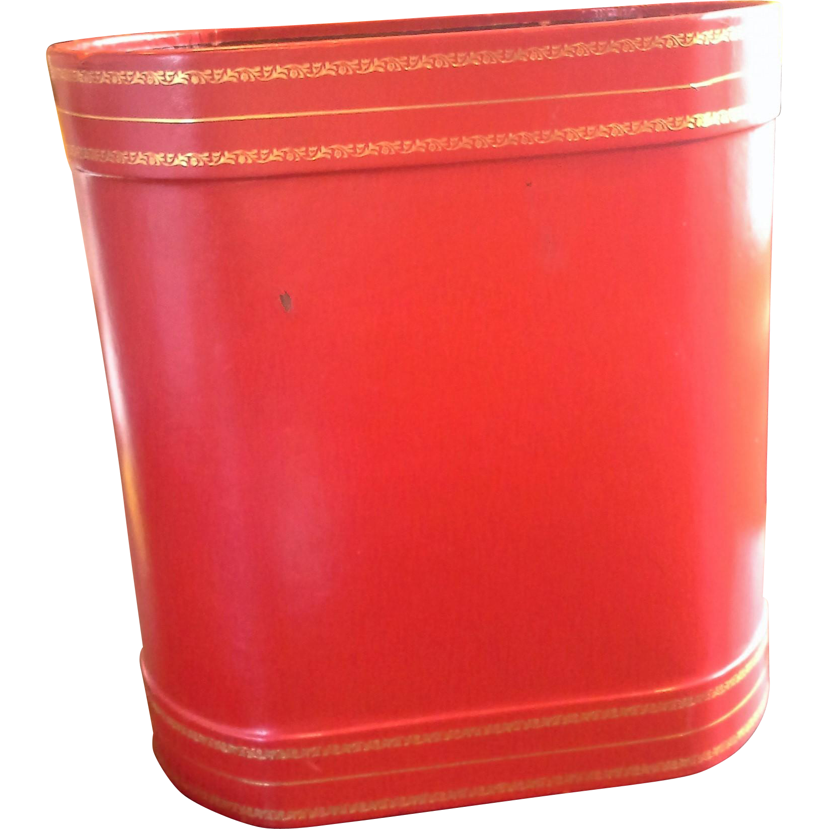 Red Leather Gilt Tooled Borders Oval Wastebasket Waste Paper Basket Office